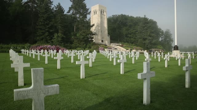 Crosses mark the graves of US soldiers most of them killed in the Battle of Belleau Wood at the AisneMarne American Cemetery on May 25 2018 near...