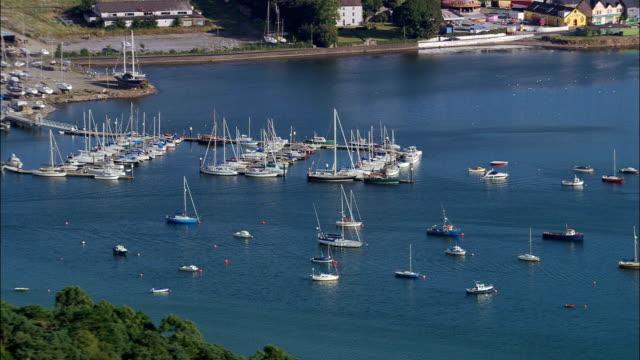 crosshaven marina  - aerial view - munster, cork, ireland - county cork stock videos & royalty-free footage