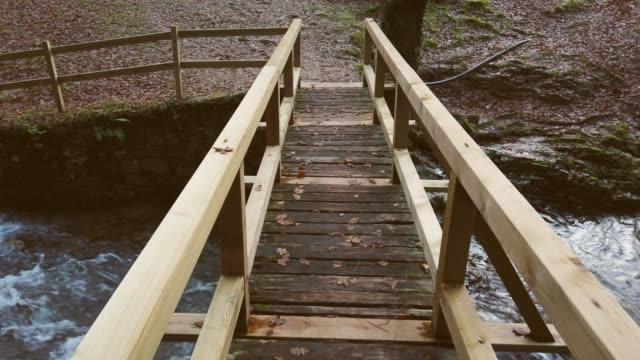 vídeos y material grabado en eventos de stock de cruzar un puente de madera sobre un río - acera