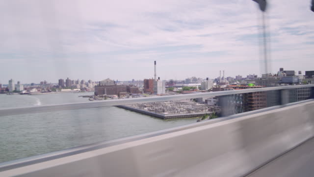Crossing over the Manhattan Bridge overlooking the East River and Brooklyn.