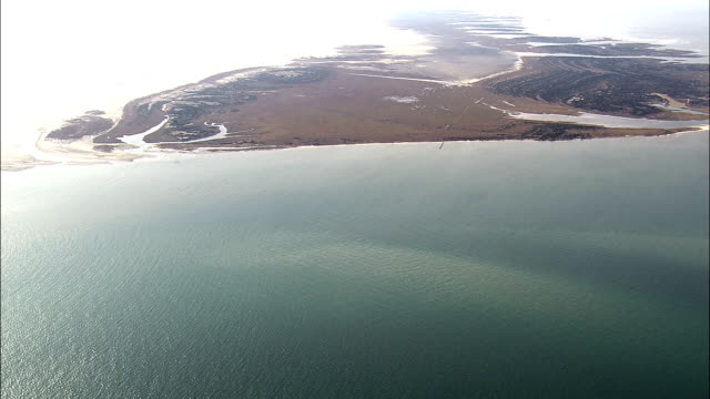 Crossing Pamlico Sound  - Aerial View - North Carolina,  Carteret County,  United States