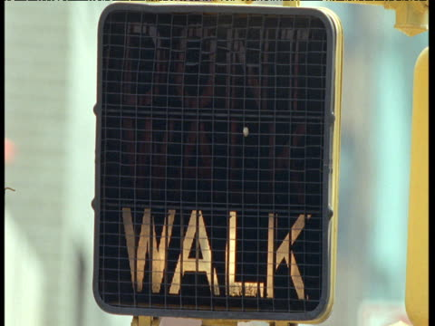 crossing signal light changes from 'walk' to 'don't walk', new york city - schild stock-videos und b-roll-filmmaterial
