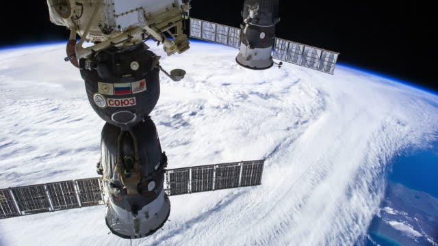 iss crossing the mediterranean - timelapse - satellite view stock videos & royalty-free footage