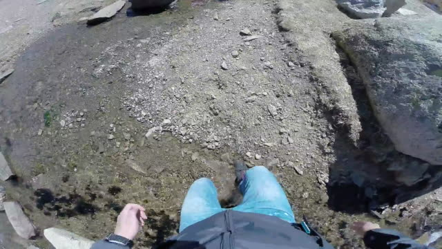 crossing the river from first person view on the pyrenees. - human limb stock videos & royalty-free footage
