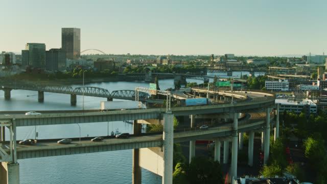i-5 crossing willamette river in portland, oregon - river willamette stock videos & royalty-free footage