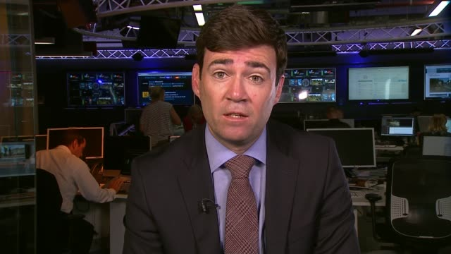 opposition outside london england london gir int andy burnham 2 way interview from manchester sot - cathy newman stock-videos und b-roll-filmmaterial