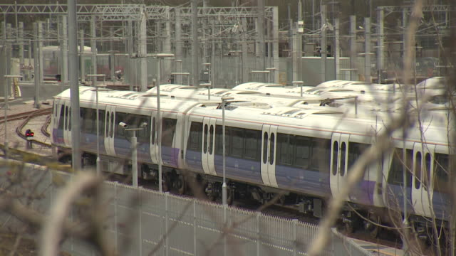 crossrail trains at old oak common depot - oak stock videos and b-roll footage