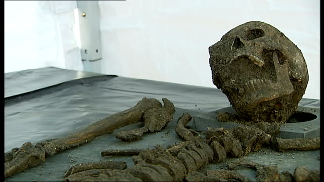 crossrail unearths skeletons from 'black death' 1432012 london farringdon int crossrail archaeologist climbing down ladder crossrail archaeologists... - クロスレール路線点の映像素材/bロール