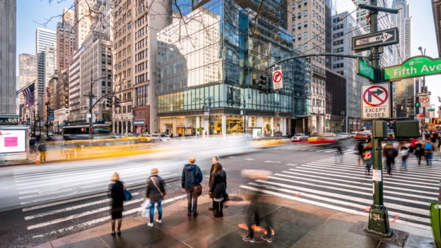 t/l ws zi crossroad of fifth av and w 42nd st / new york city, usa - hd format stock videos & royalty-free footage