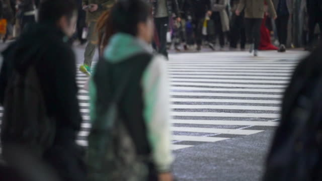 crossroad pedestrians in japan slow motion shot - differential focus stock videos & royalty-free footage