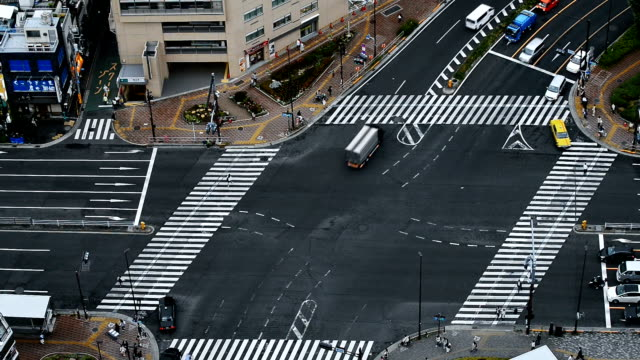 Crossroads and traffic in Tokyo
