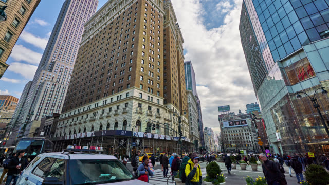 crossroads of 34th street and broadway - hyper lapse stock videos & royalty-free footage