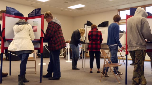 A crosssection of white Michigan voters stand at voting stations and mark their ballots in the 2016 presidential election Michigan voters gave Donald...