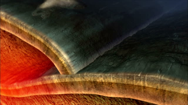A cross-section shows vulcanism beneath the Earth's crust. Available in HD.