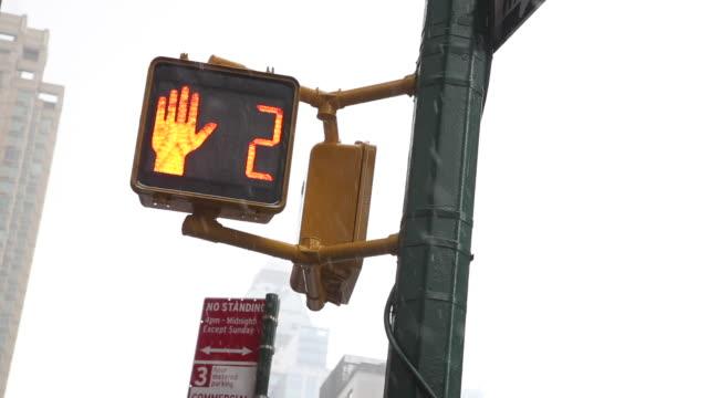 Crosswalk countdown in snow