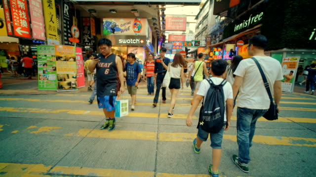 crosswalk hongkong - mong kok stock videos and b-roll footage