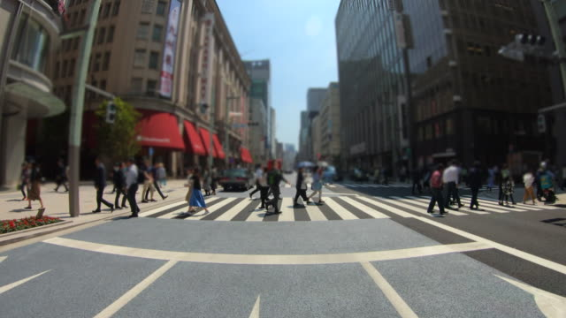 crosswalk in ginza,tokyo - ginza stock videos & royalty-free footage