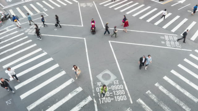 crosswalk in taipei time lapse - taipei stock videos & royalty-free footage