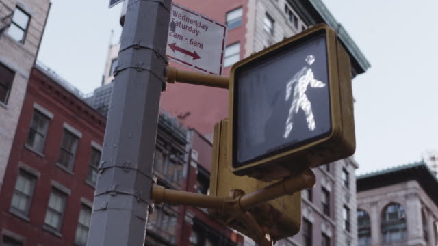 crosswalk light at manhattan intersection. - walking point of view stock videos & royalty-free footage