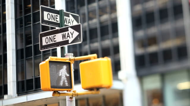 nyc crosswalk light (tilt shift lens) - traffic light stock videos & royalty-free footage