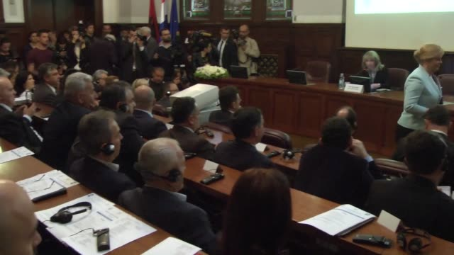 ZAGREB CROT��A MAY Crotian President Kollinda Grabar Kitarovic and Albanian President Bujar Nishani attend the ''CrotiaAlbania Economic Forum'' in...