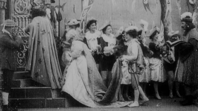 1899 b/w crowd and dancers celebrating arrival of cinderella and her prince with all their retinue - 1899 stock videos & royalty-free footage