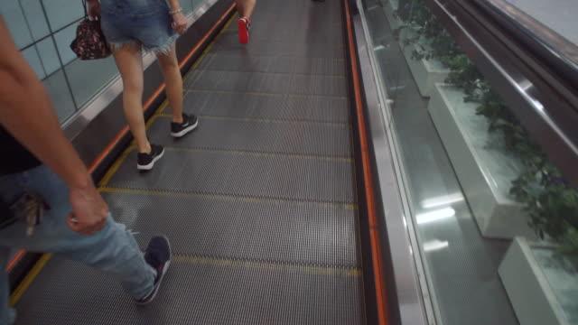 vídeos de stock, filmes e b-roll de multidão e escada rolante - grupo mediano de animales