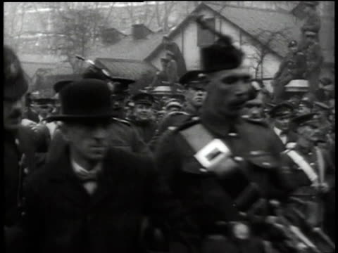 crowd and soldiers marching in a recruiting parade during wwi / united states - military recruit stock videos & royalty-free footage