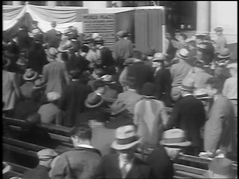 view crowd around huge book / petition for world peace / union square nyc / newsreel - 1933 stock videos and b-roll footage
