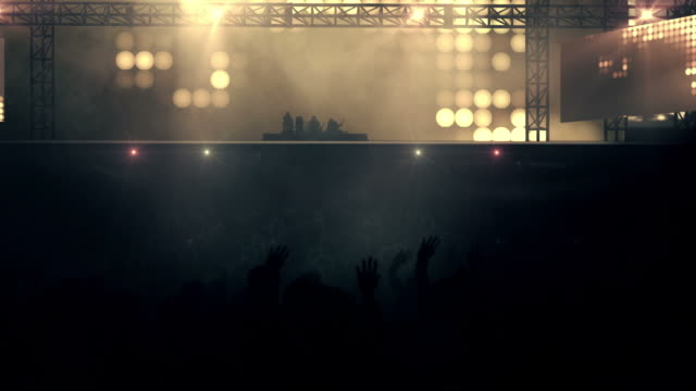 crowd at concert  - loop (rock music, mixed colored 1) - heavy metal stock videos & royalty-free footage