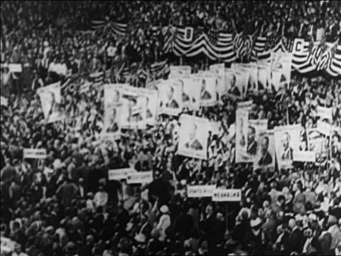 b/w 1920 crowd at democratic national convention / san francisco / documentary - reporterstil stock-videos und b-roll-filmmaterial