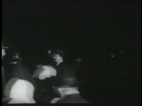 b/w 1927 crowd at le bourget airport in paris awaiting arrival of charles lindbergh - 1927 stock videos & royalty-free footage