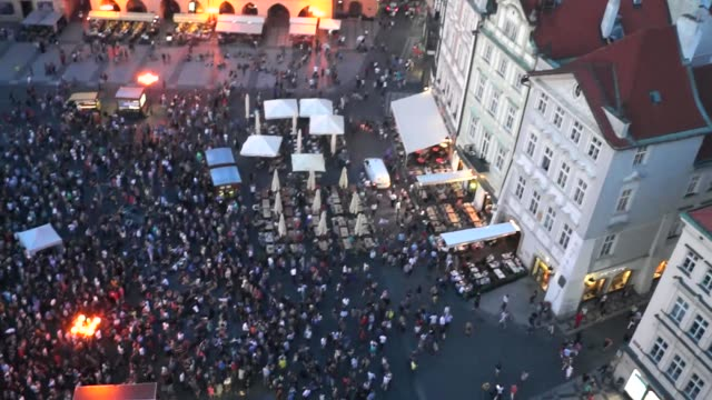 crowd at old town square in prague - stare mesto stock videos and b-roll footage