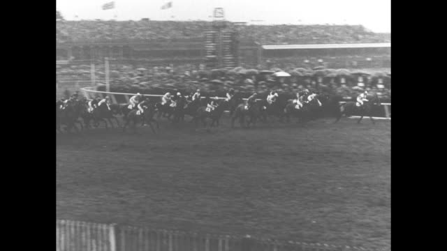 ws crowd at rainy aintree racecourse for the grand national race / men's legs walk through puddles on ground as raindrops hit puddles / vs queen... - hurdling horse racing stock videos and b-roll footage