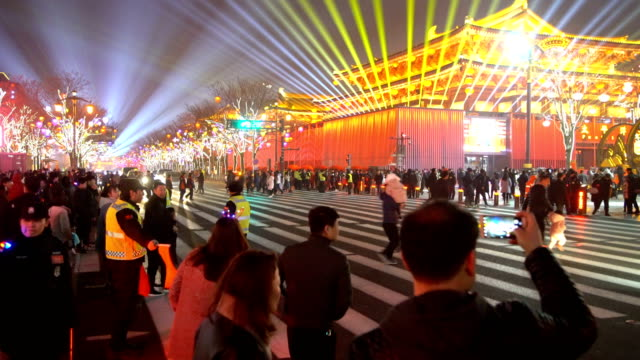 t/l crowd at scenic spot for celebrate chinese spring festival / xi'an, shaanxi, china - hanging stock videos & royalty-free footage