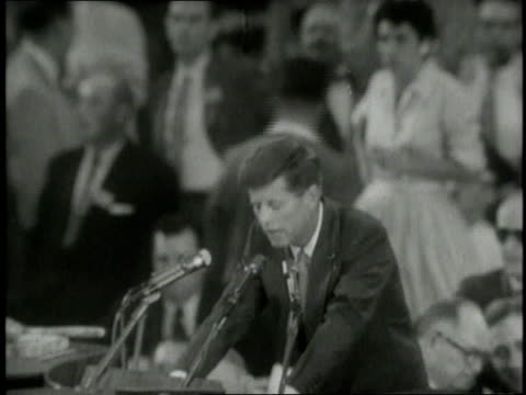 crowd at the DNC / John F Kennedy announcing Adlai Stevenson / crowd cheering