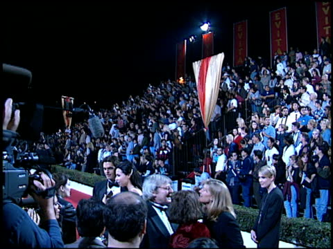 crowd at the 'evita' premiere at the shrine auditorium in los angeles, california on december 14, 1996. - shrine auditorium stock videos & royalty-free footage