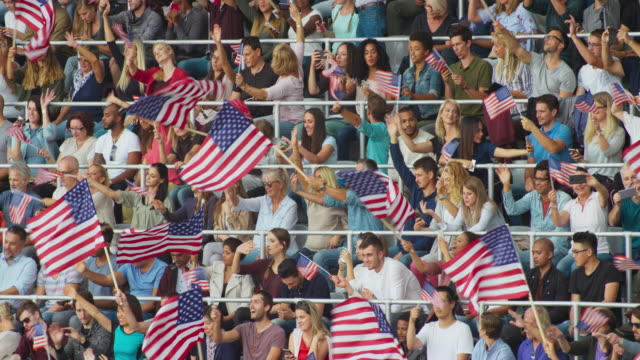 LD Crowd at the stadium sitting and waving American flags