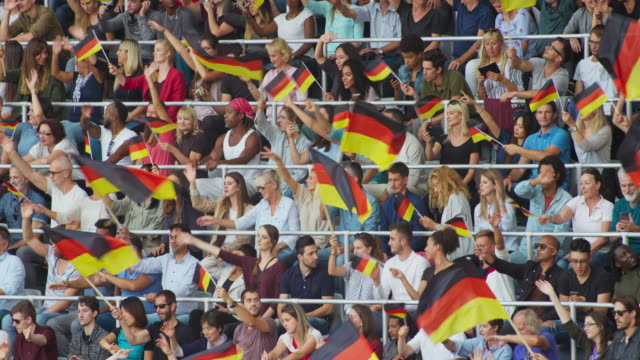 LD Crowd at the stadium sitting and waving German flags