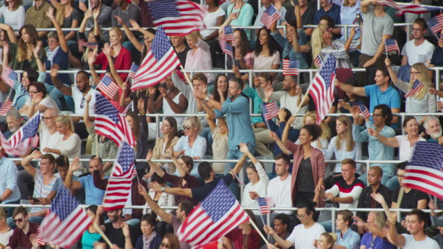 LD Crowd at the stadium standing and waving American flags