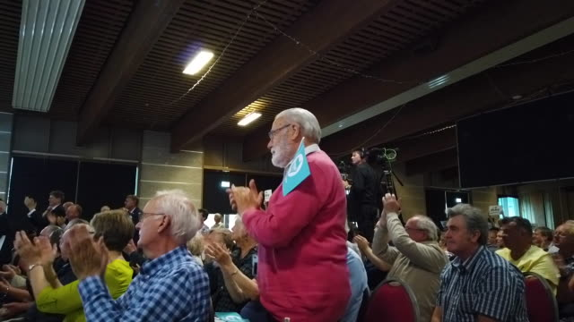 crowd attends brexit party conference tour at the lincolnshire county showground on september 3, 2019 in lincoln, england. the rally is part of a... - brexit party stock videos & royalty-free footage