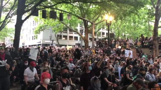 "crowd chants ""we want change"" at our peaceful protest in portland oregon a peaceful protest for george floyd in portland oregon - portland oregon video stock e b–roll"