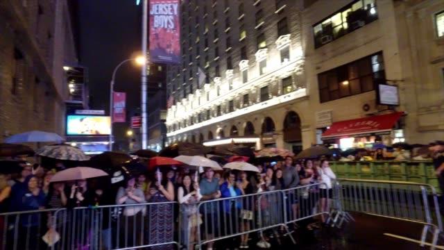 Crowd cheer for Hamilton and creator Lin Manuel Miranda at the Richard Rogers Theater