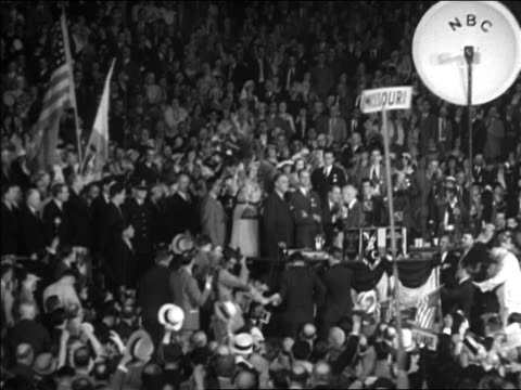 b/w 1928 crowd cheering by podium at democratic national convention / houston / documentary - 1928 stock videos & royalty-free footage