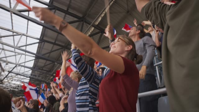 crowd cheering on the stadium tribune and waving french flags - french flag stock videos and b-roll footage