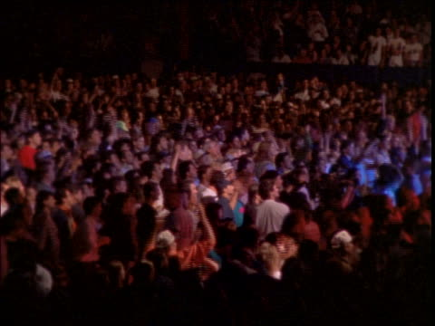 Crowd cheering + waving arms at rock concert
