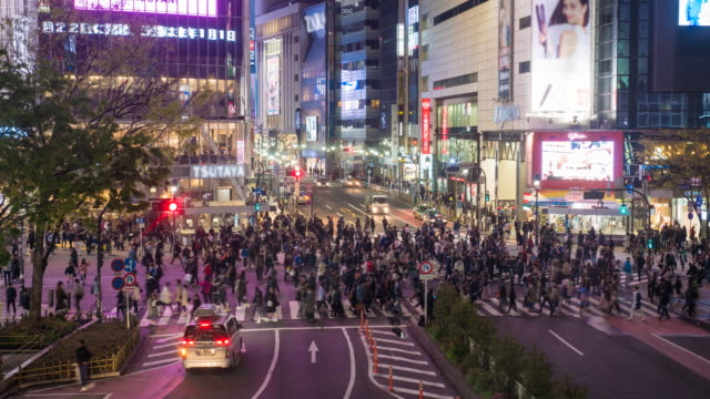 Crowd city street in japan