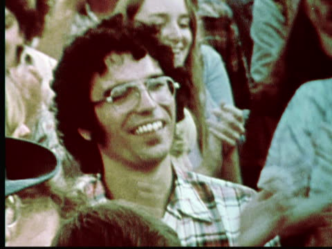 1976 MONTAGE Crowd clapping and dancing / Philadelphia, Pennsylvania, USA
