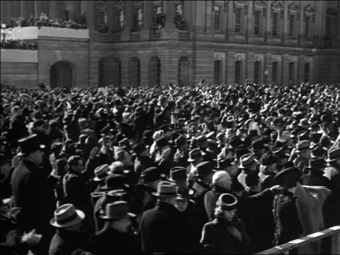 B/W 1933 crowd clapping at inauguration / Washington DC