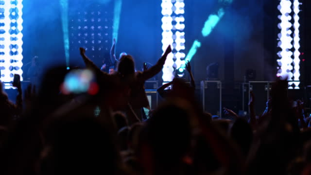 SLO MO Crowd dancing at concert held by a DJ